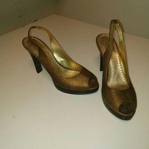 Bronze/brass stacked heel peeptoe slingback